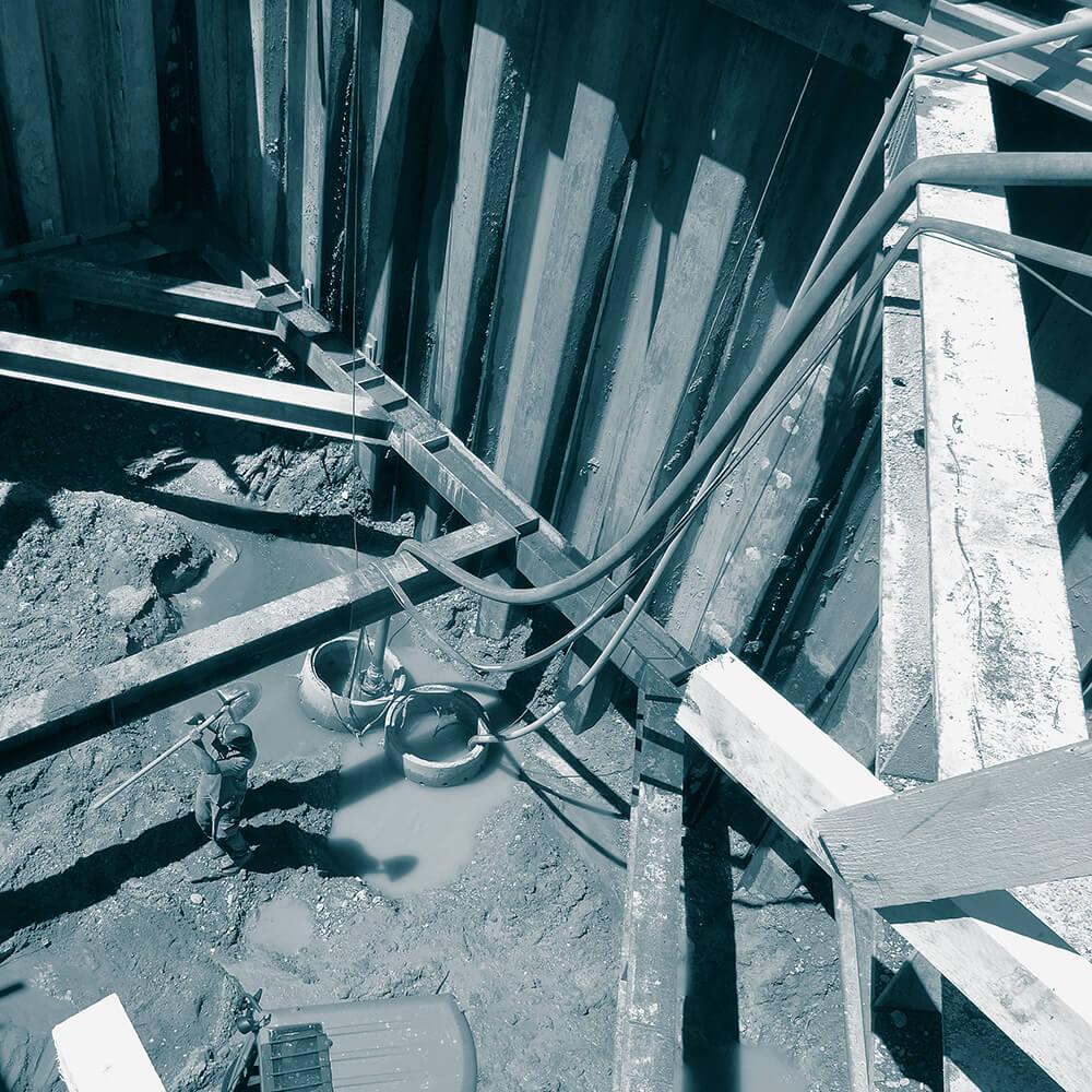 Neubau Abwasserpumpwerk Celerina GR | Baugrubenentwässerung mit Filterbrunnen ergänzt mit offener Wasserhaltung